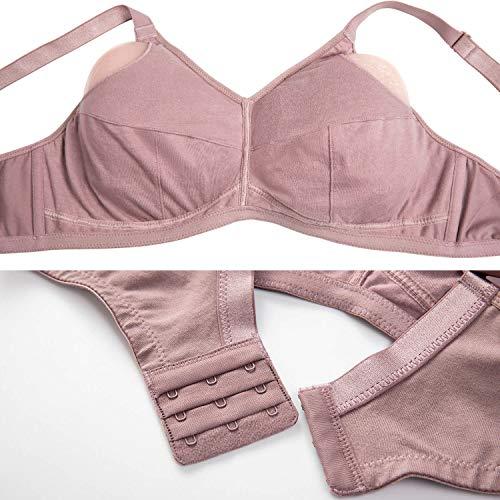 DELIMIRA Damen Vollschalen Baumwolle Mastektomie BH - Ohne Bügel Stickmuster mit Taschen Mochaccino 90F(40E) - 4