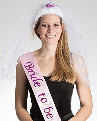 Party-Teufel Set: Blinkende Satin Schärpe und Tiara mit Brautschleier Aufschrift Bride to Be Junggesellenabschied