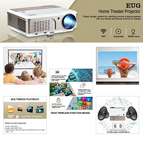 Deals For EUG Wireless Home Theater Projector HDMI USB, Support Full HD 1080P 720P, with Built-in Speakers Keystone Remote 50000 Hours LED Lifespan, Movie Video Games Indoor Outdoor LCD Beamer on Line