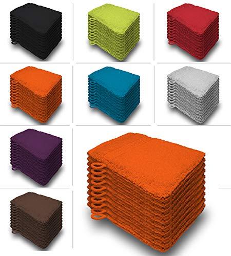 one-home 10er Set Waschhandschuhe Waschhandschuh Waschlappen 16x21 cm Frottee Baumwolle, Farbe:Orange/Terra