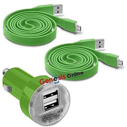 Fonetic Solutions Kompatibel mit EVGA Tegra Note 17,8 cm (7 Zoll) Hülle, 12 V/24 V, kompakter Kleiner USB-Stecker, 2 x 1 m Micro-USB-Ladekabel