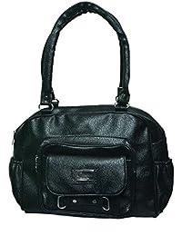 NIYANK Women's Stylish Handbag | Ladies Black Bags | Black Bag | Bag For Ladies | PU Leather Bag ( Black Bag )