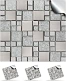 30 Mosaic Wall Tile Stickers For 150mm (6 inch) Square Tiles -(30 Silver Chrome - TP 71)- Realistic Looking Stick On Wall Tile Transfers Directly From the Manufacturer: TILE STYLE DECALS, No Middleman -- Peel and Stick on Tile to Transform your Kitchen, Bathroom - Oil-proof, Waterproof Tile Stickers, Heat Resistant Sticks on tile kitchen tiles stickers / Bathrooms Tile Stickers - (6' - Pack of 30, Silver Chrome)