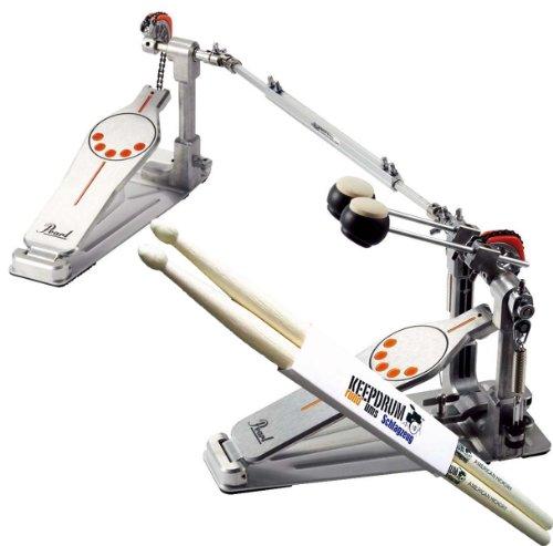 Pearl P-932 Doppelfussmaschine Bassdrum-Pedal + KEEPDRUM Drumsticks (Pearl Demon-pedale)