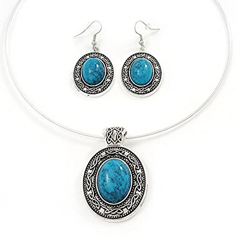 Turquoise Oval Medallion Flex Wire Necklace & Earrings Set In