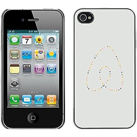 GooooStore/Dura Custodia Rigida della copertura della cassa - Heart Pearls Gold Blue Minimalist - Apple iPhone 4 / 4S - Blue Pearl Gt