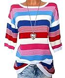 FLG Damen Pullover Longpullover Streifen Oversize GR. 32 - 46 weiß (36/38)