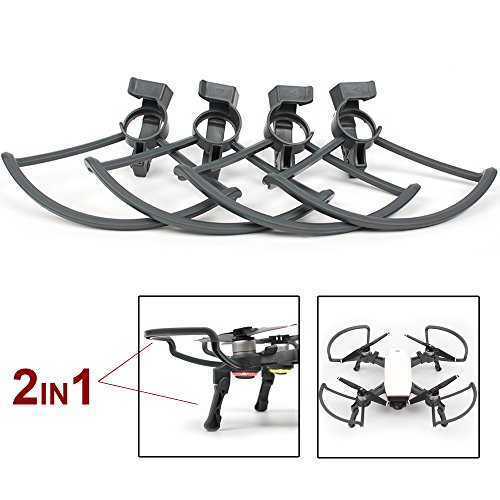 Flycoo 2 in 1 Kits for DJI Spark Propeller Protectors and Landing Gear - Folding Quick Release 4 Anti-Shock Accessories Parts / Set