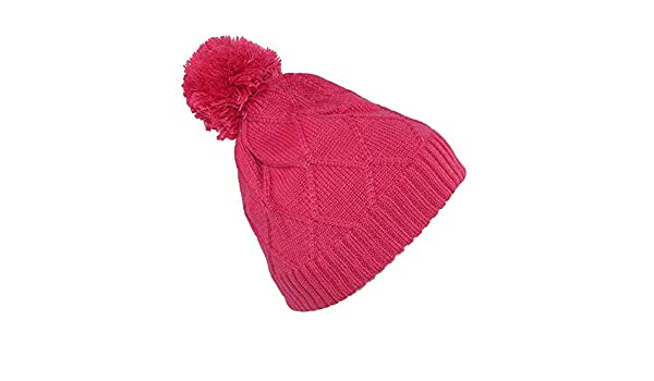 17d9b085fd1 Broner Girls  Diamond Pattern Cable Knit Beanie Hat with Pom  Amazon.co.uk   Clothing