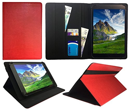 Vodafone Smart Tab N8 10.1 Pollici Tablet PC Rosso Universale Rotazione PU Pelle Custodia Case Cover ( 10 - 11 Pollici ) di Sweet Tech