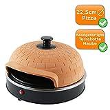 Pizza-Ofen mit edler, handgefertigter Terrakotta-Haube für echtes italienisches Ambiente, starke 1200 Watt, ideal als Tisch-Ofen für eine ganze Pizza bis zu 22,5cm Ø geeignet