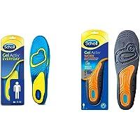 Scholl Men's Gel Activ Everyday Insoles, UK Size 7 to 12 & Gel Active Work Insoles for Men