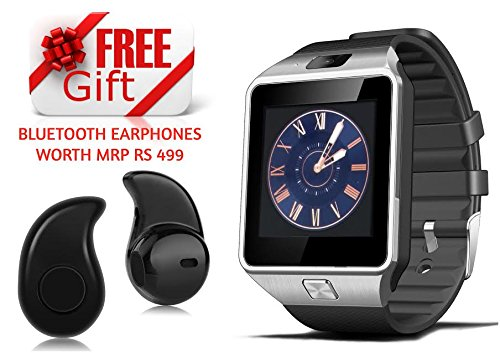Bluetooth DZ09 Smart Watch Wrist Watch Phone with Camera & SIM Card Support + FREE GIFT Bluetooth Earphones Worth Rs 499 Hot Fashion New Arrival Best Selling Premium Quality Lowest Price with Apps like Facebook, Time Schedule, Message, News, Sports, Health, Pedometer, Sleep Monitor, Speaker, Microphone, Touch Screen, Compatible with Android iOS Mobile Tablet PC Apple iPhone 4 / 4S / 5 / 5S / 6 / 6S / 6 Plus / 6S Plus / 7 / 7 Plus Samsung Sony LG HTC Huawei ZTE Oppo Xiaomi Redmi Note 3 / 4 Mi 5