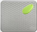 Improvingss Große Silikon Geschirr Abtropfmatte, Abtropf Matte Halterung aus Topfuntersetzer wasserdicht Mit einer multifunktionalen Silikonbürste(17.7x15.7inches, grau)