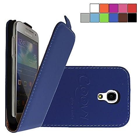 COOVY® SLIM FLIP Cover Case Coque Housse Étui de prougeection fin à clapet pour Samsung Galaxy S4 MINI GT-i9190 GT-i9195 GT-i9192 avec film de prougeection d'écran Couleur bleu foncé