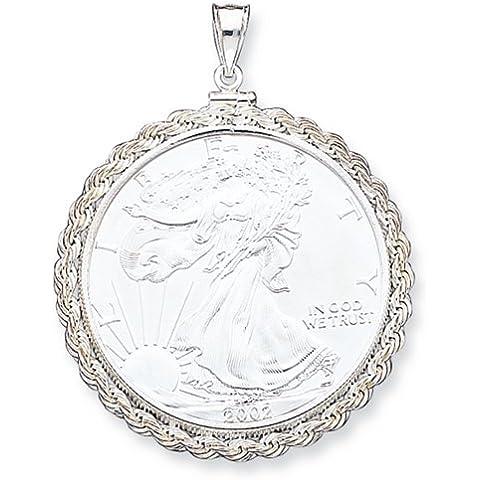 Icecarats Designer Di Gioielli In Argento Sterling 40,6 X 3,1 Millimetri Corda Pendente Lunetta