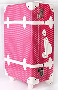 LTC Pink & White Polka Dots Vintage Style Trunk Wheel Trolley Cases (Large)
