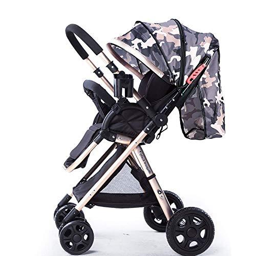 NZ-Strollers Hohe Landschaft Kinderwagen Griff Reversible Kleinkinder Buggy sitzen und liegen könnenUltralight tragbare Faltbare Kinderwagen Golden Cart Frame (Farbe: Camouflage)