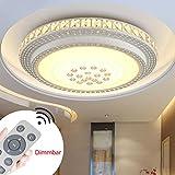 SZYSD 60W LED Deckenleuchte Kristall Wohnzimmer Flurleuchte Rund Lampe (Dimmbare+Fernbedienung)