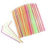Westeng 100 Pack Disposable Drinking Straws, Plastic Drinking Straws for Birthday, Wedding, Baby Shower, Celebration and Party,Random Color