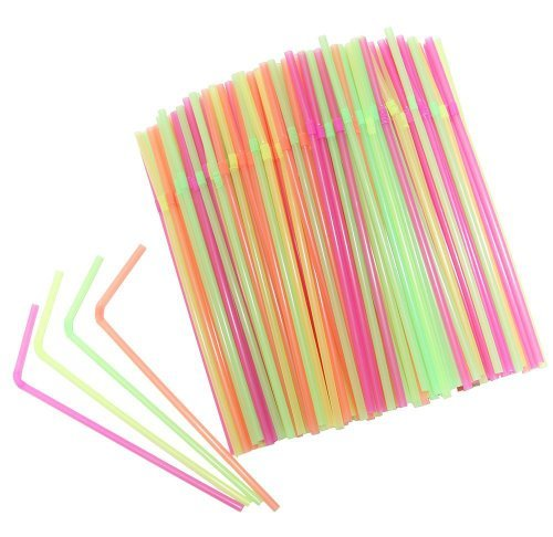 ge Plastik Trink Strohhalme Flexibel Bendable Party Strohhalme Einweg Trinkhalm Party Strohhalme Trinkgefäße Strohhalme für Insel Themed Party Bars Sommer Party BBQ 100pcs ()