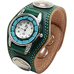 Kc,s Leather Craft Watch Bracelet Turquoise Movemnet 3 Concho Double Stitch Color Green