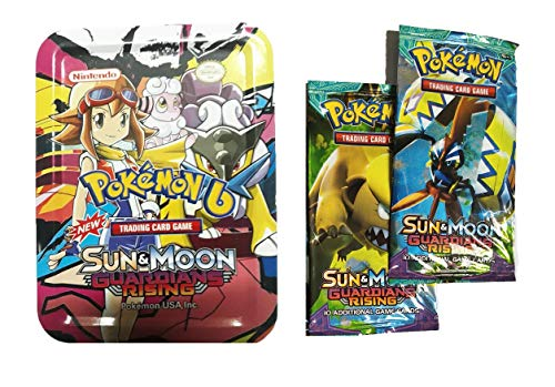 Generic Pokemon Sun and Moon Guardians Rising Trading Card Game in Metal Box 65 Cards Set & Get 2 VIP Cards Free