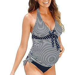 QinMM Tankini Traje de baño Mujer Maternidad Premamá para Mujer Punto Deportes Bañador de Dos Piezas Embarazada Bikini (Azul, L)