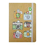 #8: Bag of Small Things Brown Hardcover Notebook Elastic Band Ruled Pages Colourful School Office Diary Journal A6 Cool Doodle Retro Camera