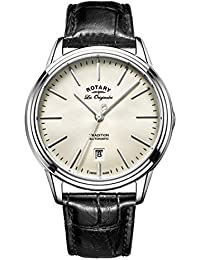 Rotary Men's Quartz Watch with Off-White Dial Analogue Display and Black Leather Strap GS90161/32