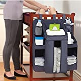 #8: MosQuick® Cot Organiser, Nursery Organizer and Baby Diaper Caddy | Hanging Diaper Organization Storage for Baby Essentials | Hang on Crib, Changing Table or Wall - Blue Colour