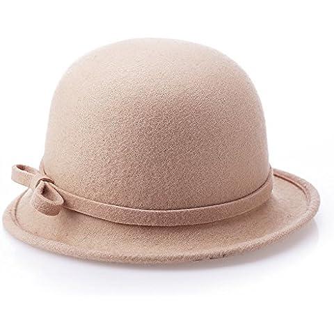 Borde irregular señoras hat, suave y cálido en el otoño y el invierno sombreros de lana Boucle tela color sólido arco vintage Hat,???