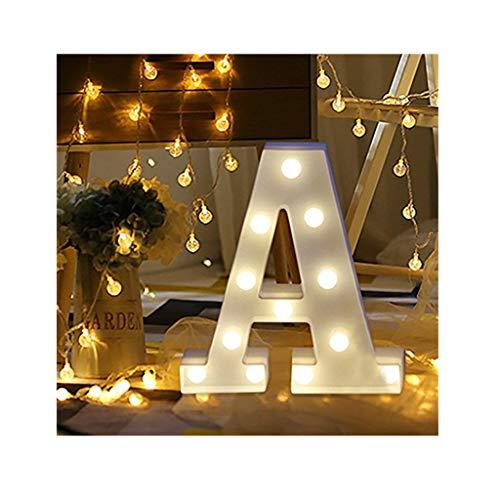 sunnymi Alphabet LED Brief Lichter leuchten weiße Kunststoff Buchstaben Stehen Hängen A bis Z & Wortkombination Home Garten Hotel Geschäft Dekor (A, 22 * 18cm*4.5cm)
