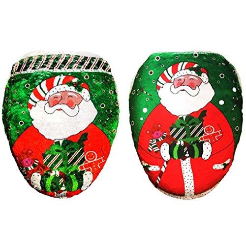 2 pezzi DegGod Decorazioni di Natale bagno privato servizi igienici Imposta Natale Babbo Sedile WC Coperchio (rosso & verde)