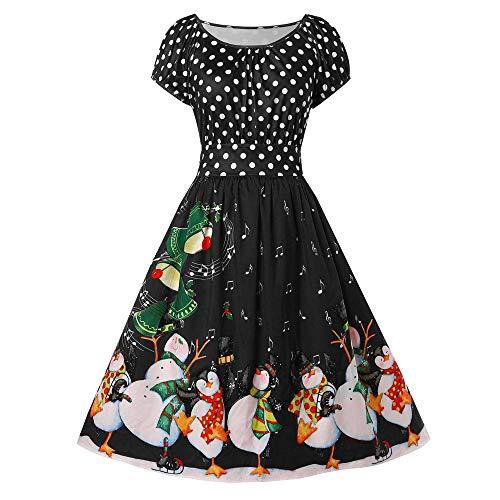 IZHH Damen Vintage Kleider Mode Frauen Geschenk Pinguin Dot Print Weihnachten Oansatz Partykleid Kurzarm Rundkragen Große Größe Rock Dress Club Festival Carnival Kleid (Schwarz,XXXXX-Large)