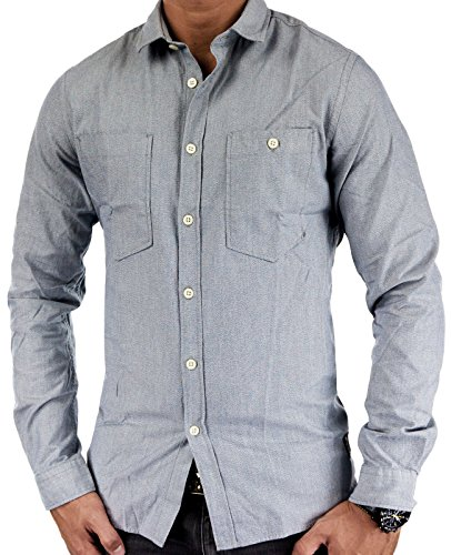 Jack & Jones Herren Ryan Hemd / Hemdbluse Light Grey Melange Small (Convertible-manschetten)