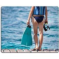 Liili Mouse Pad-Tappetino per Mouse in gomma naturale con immagine ID: 22451607 Woman è utile per snorkeling e subacquea Easybreath, con le apparecchiature per le mani