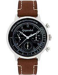 Gigandet Quarz Herren-Armbanduhr Pulsation Multifunktion Uhr Datum Analog Lederarmband Braun Schwarz G45-003