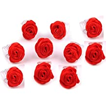 Haarklammern Röschen - 10Stück - 8 verschiedene Farben zur Wahl (rot)