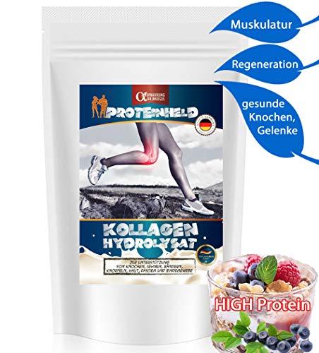 REINES Kollagen-HYDROLYSAT Pulver 1000g NATURAL (90% PROTEIN 0% Fat 0% Carbs) ✓BESTE Lösung zum Stärken von Kochen Muskulatur Bindegewebe Gelenke ✓ Kollagenes Eiweiß SojaFREI Glutenfrei LAKTOSE-FREI