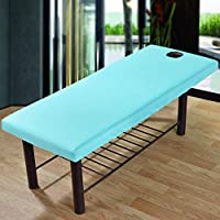 SUPEWOLD Massage Cure Bed Cover Table Sheets with Face Breath Hole,Polyester Elastic All-round Wrap Healty Beauty Salon Spa Sheet, Cosmetic Bed Sheet Cover Couch Cover Bed Table Cover (70x190cm,Blue)