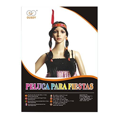 Ousdy Peluca trenzas india plumas 691731 - Negro