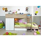 Hochbett Sonoma Eiche inkl 2 Betten + Kleiderschrank + Lattenrostplatten Spielbett Kinderbett Kinderzimmer Stockbett