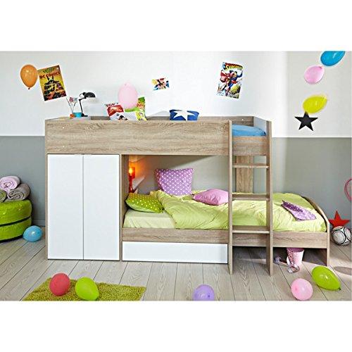 Jugendmöbel24.de Hochbett Sonoma Eiche inkl 2 Betten + Kleiderschrank + Lattenrostplatten Spielbett Kinderbett Kinderzimmer Stockbett -