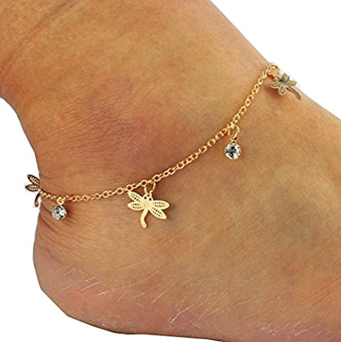 Dragonfly Rhinestone Foot Chain Anklet Barefoot Beach Foot Jewellery