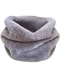 LQQSTORE Sciarpe Donna inverno moda puro colore Fuax pelliccia peluche  caldo anello collo avvolgente sciarpa colletto sciarpe ad anello scaldacollo … db54065ceec