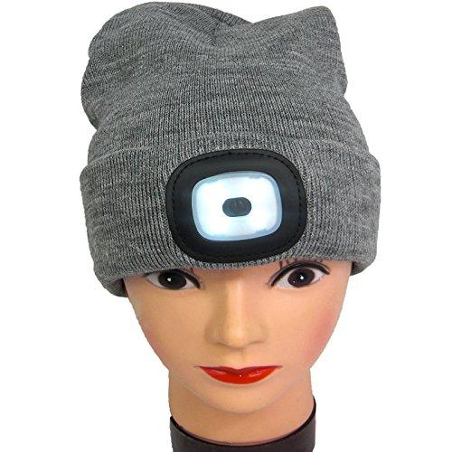 Mütze mit LED Strickmütze LED-Licht Batteriebetrieb Jogger Mütze Grau