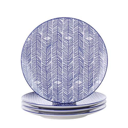 Vancasso TAKAKI 4pcs Assiettes Plates Rond Porcelaine Assiette à Dessert 27*27*2.5cm Plat Service de Table Vaisselles 4 Motifs Style Japonais Asiatique