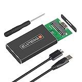 ELUTENG SSD mSATA an USB 3.0 Adapter M50 6Gbps mSATA Gehäuse Aluminium Externes mSATA Adapter Kompatibel für 30x50mm m-SATA SSD Festplatten 512GB SATA auf USB Enclosure Mini Case mit Datenkabel
