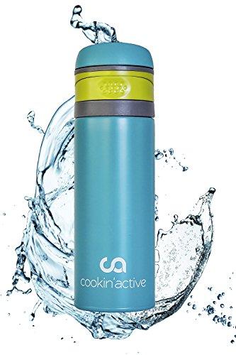 cookin'active Thermosflasche, Trinkflasche, BPA frei, perfekt für Kinder, Schule, Sport & Freizeit, Ultra leicht, auslaufsicher, schnell und einfach zu öffnen, vollkommen geschmacksneutral - Edelstahl-spitze-fach